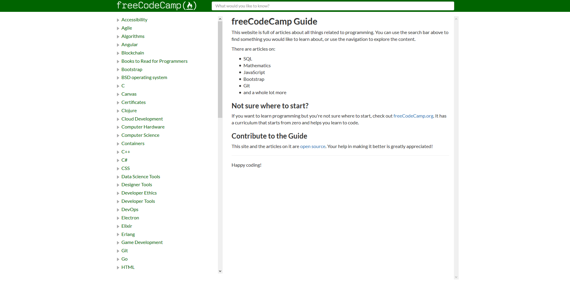 Screenshot of the freeCodeCamp Guide